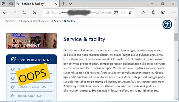 Screenshot of an active website that's live with placeholder text