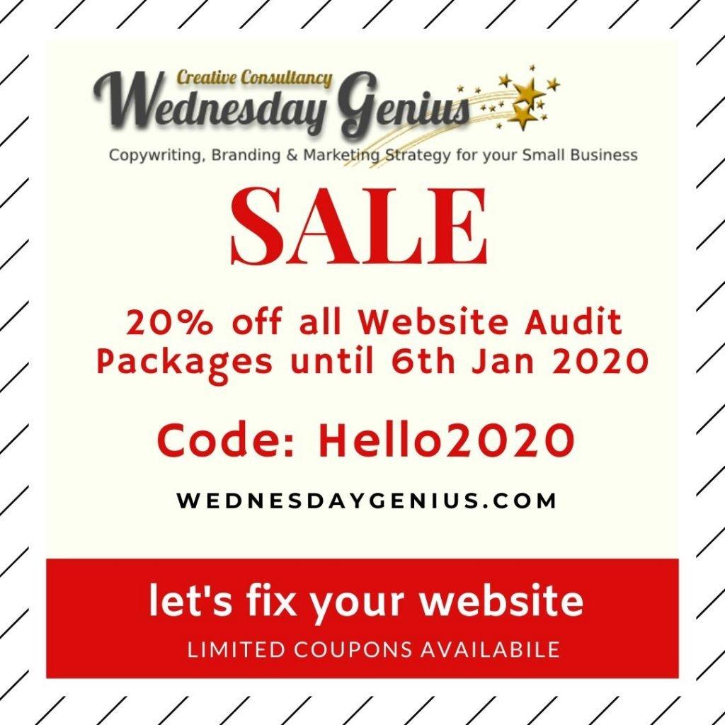 Wednesday Genius, let's fix your website, Website Audit SALE