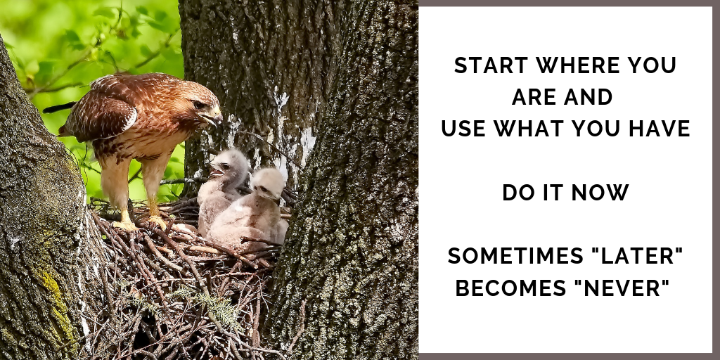 "Business Mindset Quote: Start where you are and use what you have. Do it Now. Sometimes ""Later"" becomes ""Never"""