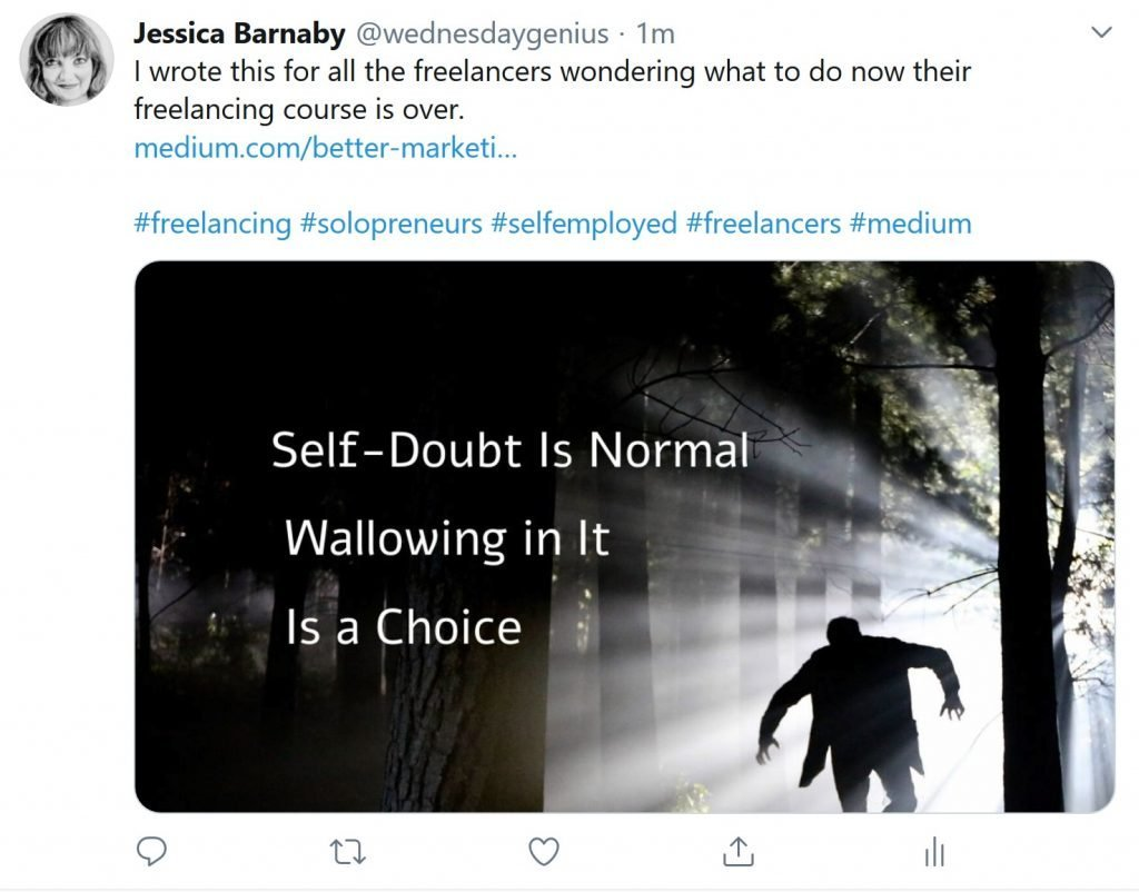 promote content on twitter - self-doubt is normal