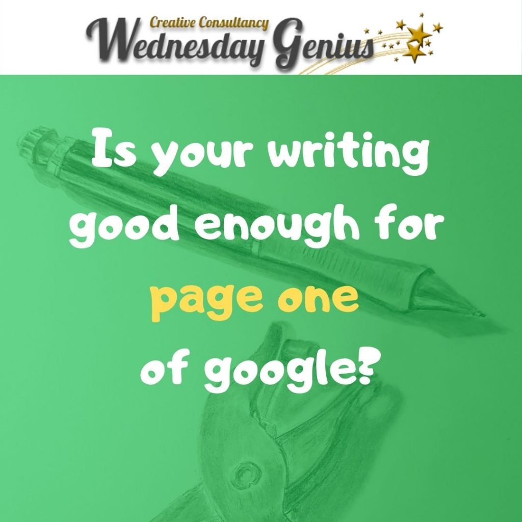 Write to get to page one of google, Wednesday Genius, Jessica Barnaby