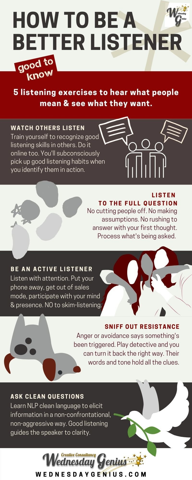 How to Be a Better Listener Infographic Wednesday Genius