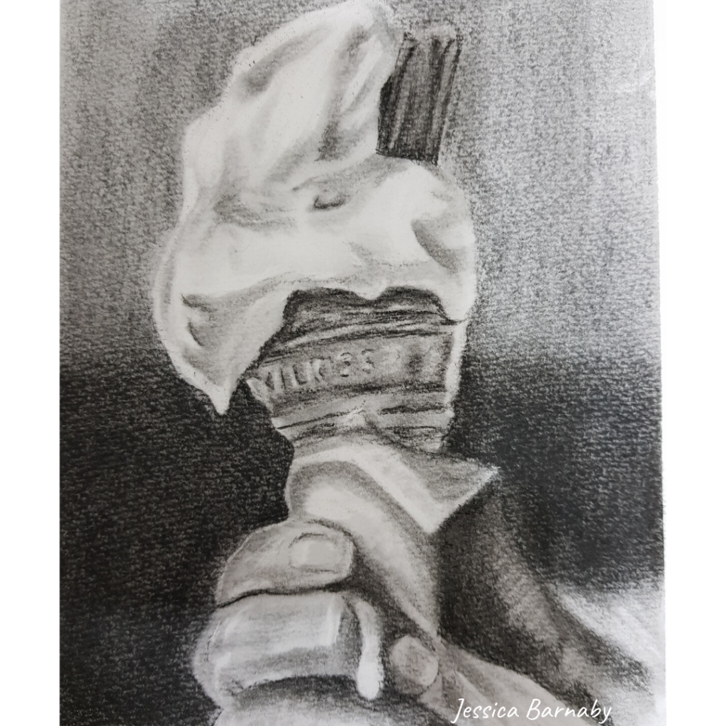 Ice-cream sketch in charcoal, Wednesday Genius, Jessica Barnaby